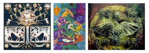 Figure 1 De gauche à droite :  Svetlana Tot, Arbre de vie. ( http://finnougoria.ru/ethnology/art/871/#photo_871_9718 ) Pavel Mikouchev, Dialogue. ( http://finnougoria.ru/ethnology/art/1072/#photo_1072_10869 ) Andreï Aliochkine, Du cercle de la vie. ( http://finnougoria.ru/ethnology/art/1693/#photo_1693_15326 ) Source des images : Site officiel du Centre culturel finno-ougrien de La Fédération de Russie http://finnougoria.ru