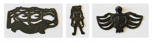 Figure 2 De gauche à droite : Plaque sculptée, VI-VIII s., bronze, découvert près du village Nyrguinda, Oudmourtie, le Musée National de l'Ermitage, Saint-Pétersbourg, http://www.hermitagemuseum.org ( http://www.hermitagemuseum.org/html_En/03/hm3_2_12e.html ) Homme-ours, I-III s., bronze, découvert près de la rivière Garevaïa, kraï de Perm, le Musée National de l'Ermitage, Saint-Pétersbourg, http://www.hermitagemuseum.org ( http://www.hermitagemuseum.org/html_En/03/hm3_2_12a.html ) Ornithomorphe, VI-IX s., bronze, kraï de Perm, le Musée National de l'Ermitage, Saint-Pétersbourg, http://www.hermitagemuseum.org ( http://www.hermitagemuseum.org/html_En/03/hm3_2_12c.html ) Clichés d'Olessia Koudriavtseva-Velmans
